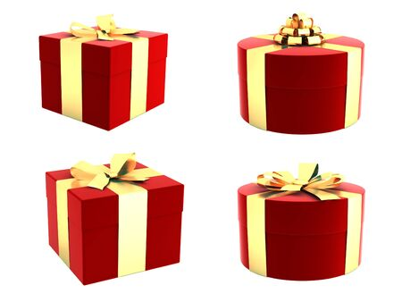 Set of gift boxes with beautiful ribbons and bows photo