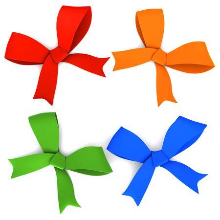 Set of bows  Isolated on white photo