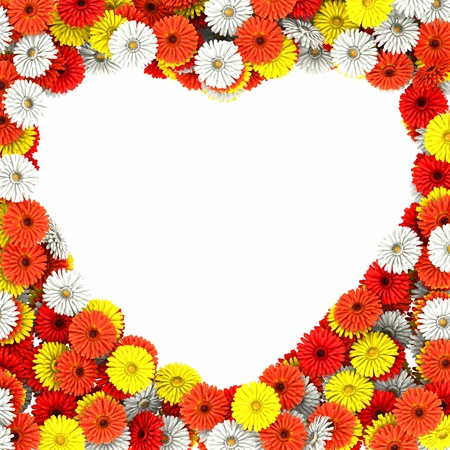 Heart of beautiful gerberas flowers photo