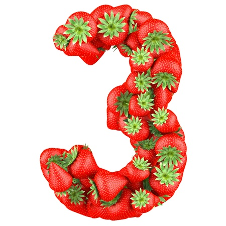 number three: Number three made from Strawberry  Isolated on a white