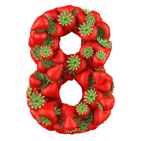 Number eight made from Strawberry  Isolated on a white