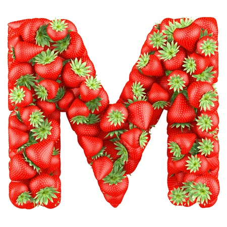 Letter - M made of Strawberry. Isolated on a white. photo