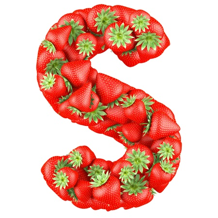 shaped: Letter - S made of Strawberry. Isolated on a white.
