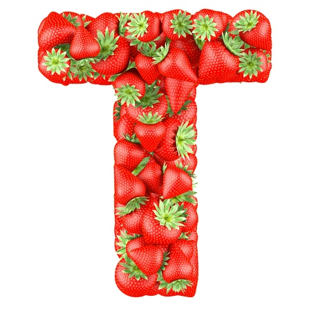 Letter - T made of Strawberry. Isolated on a white. Stock Photo