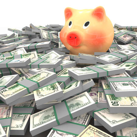 Pink piggy bank standing on a many dollars photo