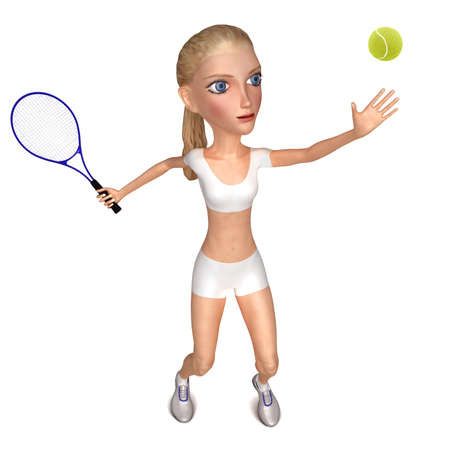 isolates: Girl in white clothes plays tennis  Isolated on white  3D character Stock Photo