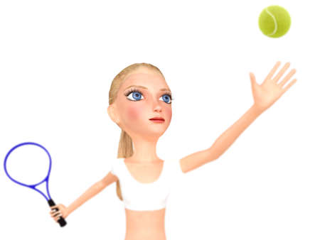 isolates: Girl in white clothes plays tennis  Isolated on white  3D