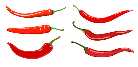 Set of Hot chilli pepper. Isolated on white
