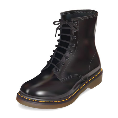 foot soldier: New black leather boot. Realistic Vector illustration. Isolated on white background
