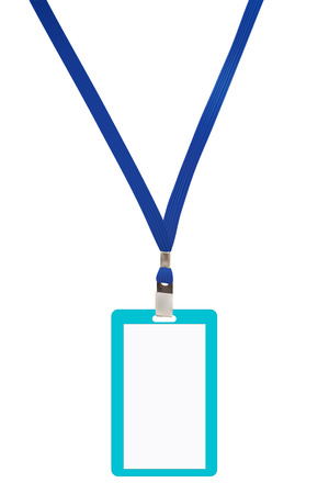 neckband: Blank badge with blue neckband  Vector illustration