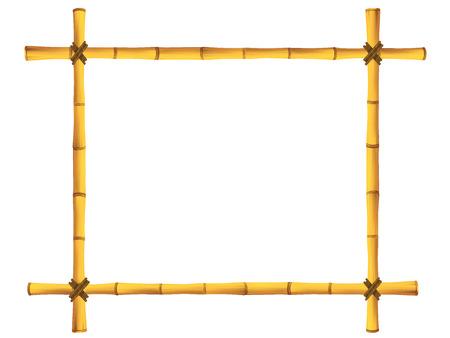 Wooden frame of old bamboo sticks illustration Vettoriali