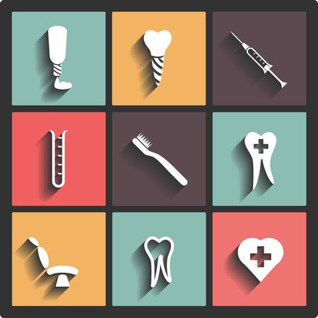 sonrisas dientes: Iconos de tema Vector dentales
