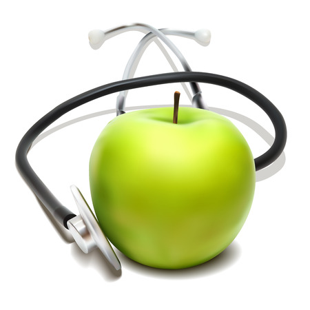 sound therapist: Stethoscope and green apple. Vector illustration