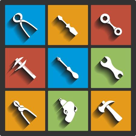 pied   � coulisse: Ensemble d'outils ic�nes. Vector illustration
