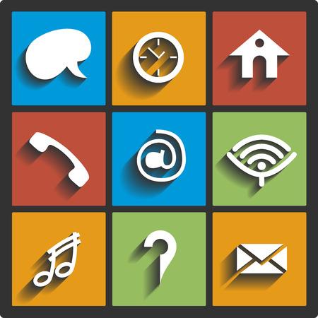 communication icons: Communication icons and connection symbols
