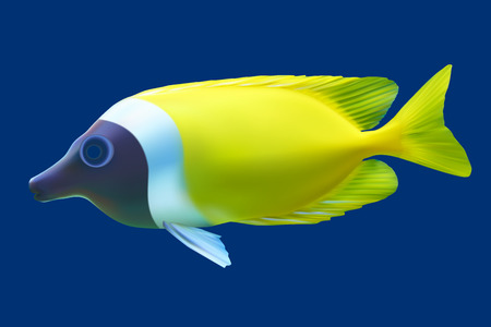 trigger fish: Yellow tropical fish. Vector illustration