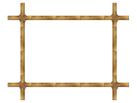 Houten frame van oude bamboestokken.