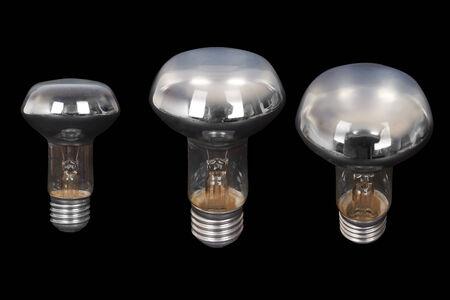 socle: Set of Light bulb. Isolated on black