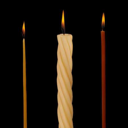 Set of Realistic Candles on black background