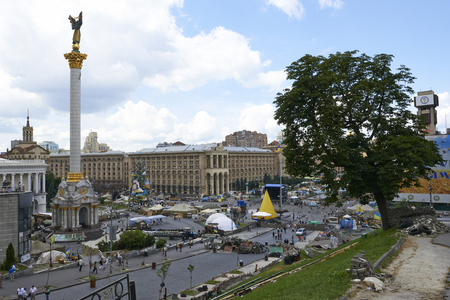 outcry: KIEV, UKRAINE - June 13, 2014: Kiev Maidan after the revolution of dignity.