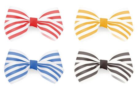 Set of Striped bows. Vector illustration  矢量图像