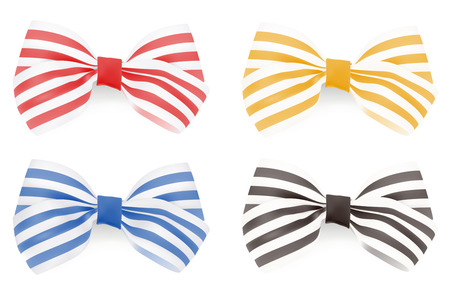 Set of Striped bows. Vector illustration  Vector