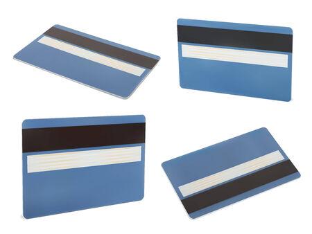 mastercard: Set of Blue creadit card. Isolated on white Illustration