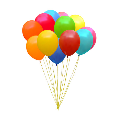 party balloons: An illustration of a set of colourful birthday or party balloons
