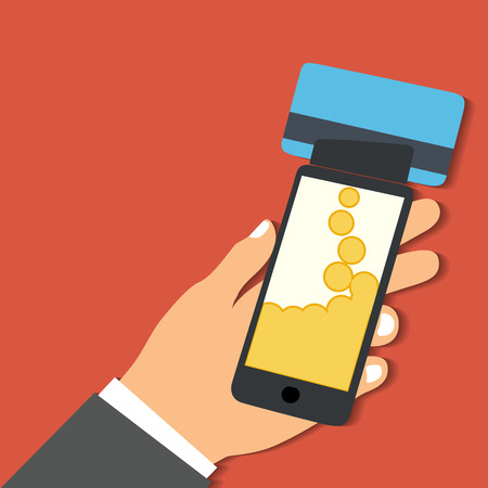 Flat design style vector illustration. Smartphone with processing of mobile payments from credit card. Communication technology concept. Isolated on red background