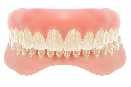 fake smile: Human jaw.  Illustration