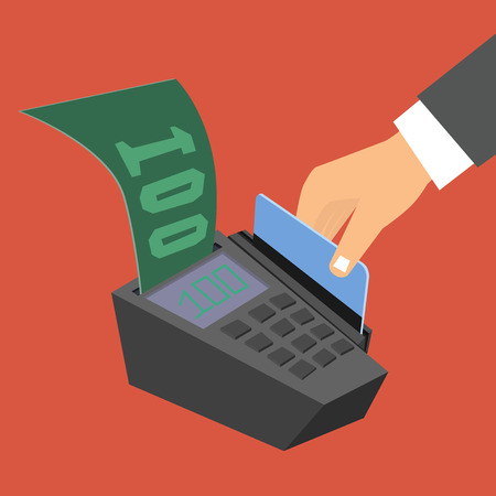 swipe: Flat design style illustration. Hand holding a credit card spends in the payment terminal Illustration