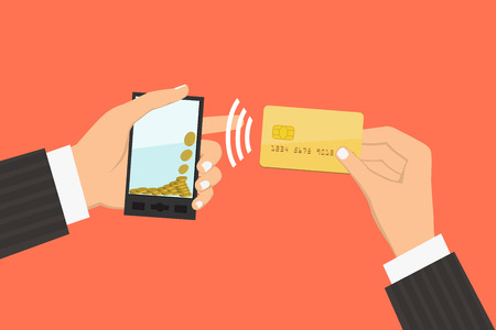 technology transaction: Flat design style illustration. Smartphone with processing of mobile payments from credit card. Communication technology concept. Isolated on red background Illustration