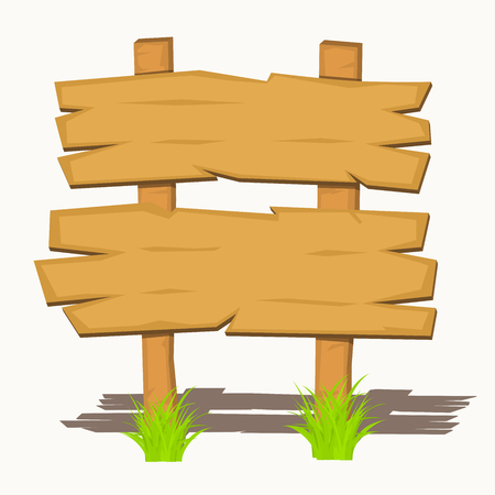 Wooden sign boards on a grass. Vector illustration. 矢量图像