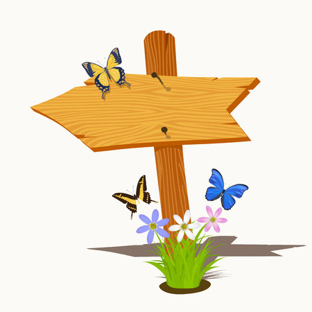 directional arrow: Wooden arrow with flowers and butterflies. Vector illustration
