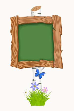 Wooden school board with flowers and butterflies. Vector illustration Vector