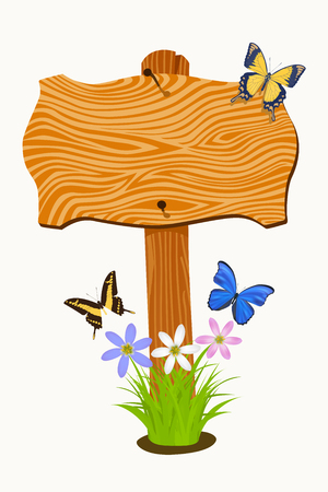 Wooden signboard with flowers and butterflies. Vector illustration Vector