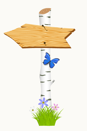 Wooden arrow with flowers and butterflies. Vector illustration Vector