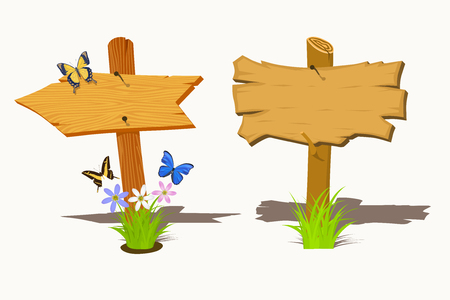 Set of Wooden signboard with flowers and butterflies. Vector illustration Vector