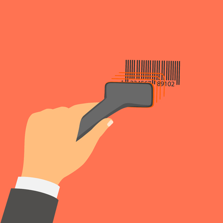 Flat design style vector illustration. Hand holds a barcode scanner.  Financial concept. Isolated on red background Vector