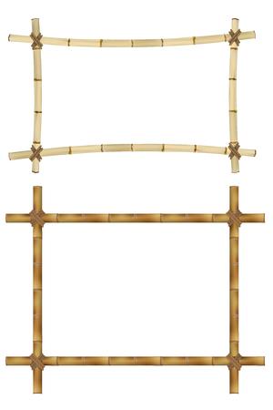 Set van Houten frame van oude bamboe stokken. Vector illustratie