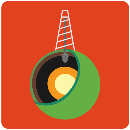 Oil mining site with drilling tower on a Earths. Flat design style illustration. Illustration
