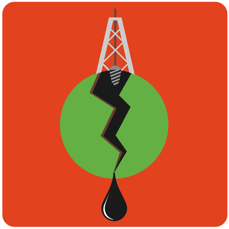 ounce: Oil mining site with drilling tower on a Earths. Flat design style illustration. Illustration