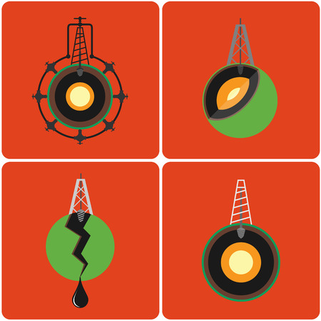 boring rig: Oil mining site with drilling tower on a Earths. Flat design style illustration. Illustration