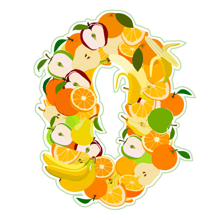 pear shaped: Juicy fruit in the form of number 0 Illustration