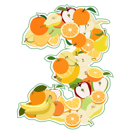pear shaped: Juicy fruit in the form of number 3 Illustration