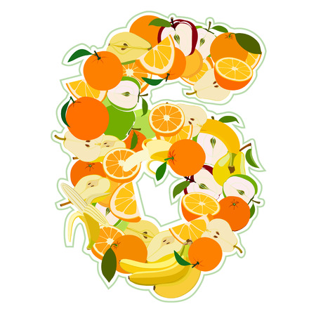 Juicy fruit in the form of number 6 Vector