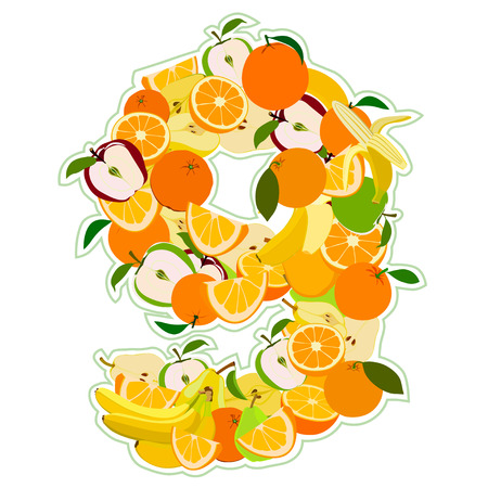 pear shaped: Juicy fruit in the form of number 9