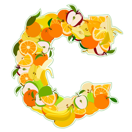 Letter - C made of fruits. Vector illustration