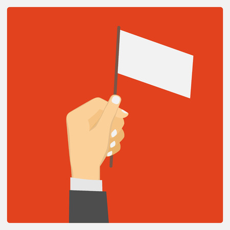 Businessman holding empty flag Illustration