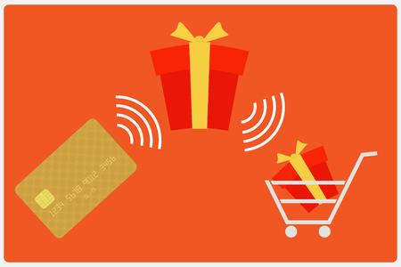E-commerce concept flat design modern. Vector illustration, isolated on red